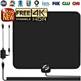 HD TV Antenna Indoor, Updated 2019 Newest HDTV Digital 4K / 1080P Antennas with Signal Amplifier Booster, More High-Definition and Free Channels, Long Enough Coax.