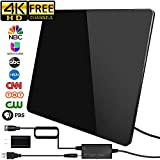 [2019 Newest] HDTV Antenna,Indoor Digital TV Antenna Amplified Support 4K 1080P VHF UHF & Older TV's Digital Antenna with Amplifier Signal Booster,17ft Coax Cable/USB Power Adapter (160Miles)