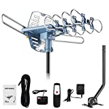 150 Miles Range Amplified Digital Outdoor TV Antenna with Mount Pole 4K/1080p High...