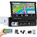 Hikity Single Din Car Stereo 7 Inch Flip Out Touch Screen Car Radio with GPS Navigation...